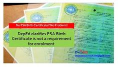 No NSO or PSA Birth Certificate? DepEd Clarifies: NSO Birth Certificate is not a requirement for enrolment Department of E. End Of School Year, Beginning Of School, Nso Birth Certificate, School Calendar, Encouragement, Stress, Teacher, Author, Student