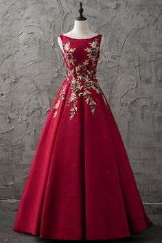 Burgundy satin long gold appliqués evening dresses #prom #dress #promdress #promdresses