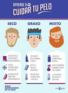 Consejos para cuidar de tu pelo según su tipo. #infografia #cabello