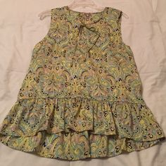 Juicy Couture multi-color sleeveless summer blouse Juicy Couture summer top with ruffled hem. Ties at the neckline. Feels soft like satin. Beautiful yellow, turquoise, and pink pattern just in time for summer. 100% poly, can be machine washed. Juicy Couture Tops Blouses