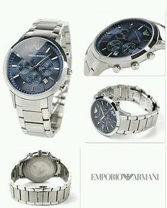 NEW AUTHENTIC EMPORIO ARMANI AR2448 MENS STEEL CHRONOGRAPH WATCH WITH BOX