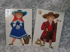 2 Vintage Postcards Add On Clothing and Embroidery Children Spain