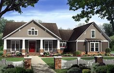Bungalow Country Craftsman Elevation of Plan 59198