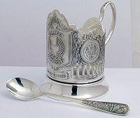 Russian Kolchugino Glass Holder (silver-plated)