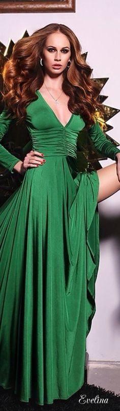 Emerald Green gown.