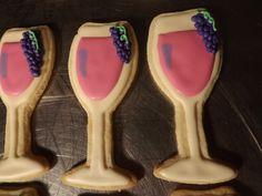 Wine Glasses with Grapes, Vineyard Wedding.... Log House Cookies