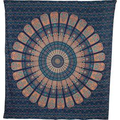 Cyra Mandala Tapestry Large Blue Orange Cotton Bohemian Indian Block... ($30) ❤ liked on Polyvore featuring home, home decor, wall art, grey, home & living, home décor, wall décor, wall hangings, beach home decor and motivational wall art