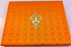 Indian Wedding Invitations by www.hyegraph.com | Hyegraph gold emblem on damask design