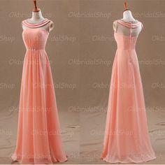 Peach prom dresses, halter prom dresses, chiffon prom dresses, prom dress online,16128