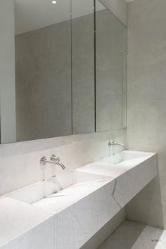 Double marble trough sink. Loft in Manhattan by Dieter Vander Velpen Architects