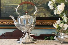 English Half Reeded Silver Plate Tipping Teapot, with Footed Stand and Burner.