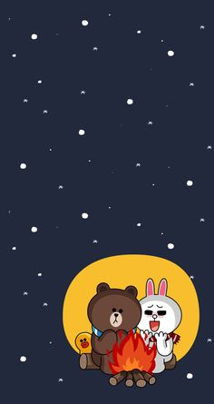 Cony and brown camping Lines Wallpaper, Bear Wallpaper, Pattern Wallpaper, Line Cony, Brown Bear, Cony Brown, Cute Couple Cartoon, Cute Love Gif, Bunny And Bear