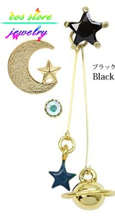 Aliexpress.com : Buy More Colors!New Zipper Japanese Punk Style Gold Planet Universe Moon/Star  Multi Pierced Stud Earrings For Women Earings Set  from Reliable stud earrings suppliers on Cos Store Jewelry ( No Mini Order )