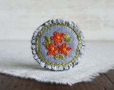 Forget Me Not Embroidered Brooch Hand Embroidered by Sidereal