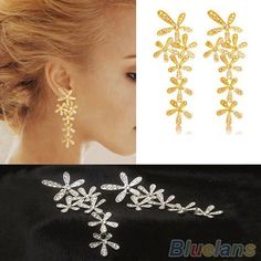 Women 2014 New Fashion Full Rhinestone Crystal Long Snowflake Flower Dangle Drop Tassel Earrings Gold Silver Sale US $1.65 - 1.71