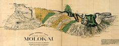 #map of #Molokai, #Hawaii in 1879