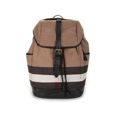 BURBERRY House Check 'Drifton' Backpack (16,395 MXN) ❤ liked on Polyvore featuring men's fashion, men's bags, men's backpacks, multi and mens leather backpack