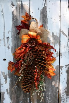 Fall Swag Sugar Pinecones Berries Burlap by sweetsomethingdesign