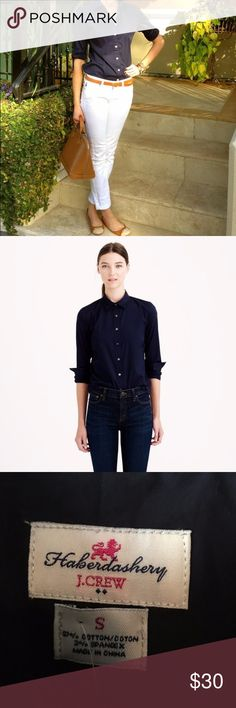 """J. Crew Navy Blue Long Sleeve Oxford Button Down 🍃    NWT J. Crew $20 $50 SIZE S THIS ITEM IS SOLD Like and save for later Beautiful classic Oxford with an amazing fit! New with tags! Armpit to armpit is 18"""". Length is 25"""". J. Crew Tops Button Down Shirts"""