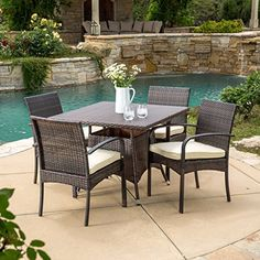 Carmela 5 Piece Outdoor Patio Furniture Wicker Dining Set * You can get more details by clicking on the image.