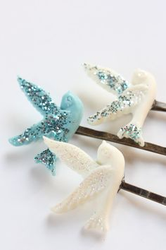 Glittered Dove Hair Clip Set Set of Three READY TO SHIP by catilla, $12.00