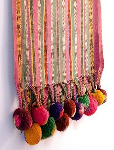 funky tapestry wall hangings with pompoms