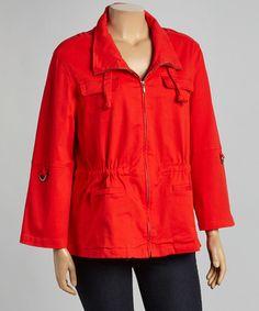Look at this #zulilyfind! Red Zip-Up Jacket - Plus by Live A Little #zulilyfinds
