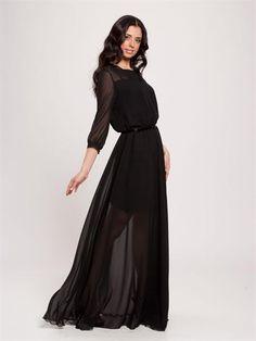 Продаю черное платье в пол