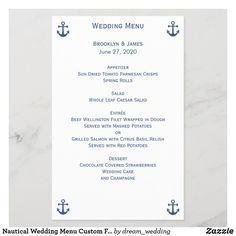 Nautical Wedding Menu Custom Flyer Wedding Strawberries, Chocolate Covered Strawberries, Wedding Dinner Menu, Parmesan Crisps, Custom Flyers, Beef Wellington, Anniversary Quotes, Nautical Wedding, Spring Rolls