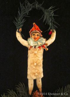 Reproduction+German+Style+Spun+Cotton+Clown+by+EbenezerandCompany,+$85.00