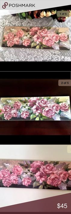 """Pretty Pink Roses & Greenery Wooden Wall Hanging A beautiful, wooden wall hanging depicting a bouquet of pretty pink roses and greenery. The wall hanging measures 18 1/2"""" x 6 1/2"""" and is in excellent condition. Other"""