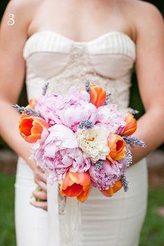 Orange Tulip, Pink Peonies & Lavender Bridal Bouquet