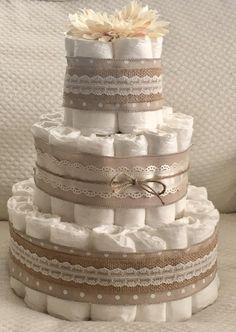 Nivel 3 torta de pañales torta de pañal rústico Vintage