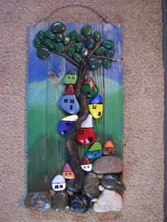 "3 ""TREE HOUSES"" Pebble Art Hand Made Hand Painted Adorable"