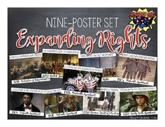 Printable poster set depicting nine moments in U.S. History when rights and liberties were expanded to include more Americans including: -Signing the Declaration of Independence -Drafting the U.S. Constitution -Ratifying the Bill of Rights -Ending Slavery -Expanding the definition of Citizenship to include African Americans -Establishing voting rights for