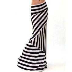 f15515cf197 Hot Sale Asymmetric High Waist Skirts Womens Faldas Largas Striped Fold  Over Stretch Long Skirt Summer Faldas Mujer