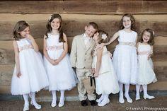 #KnoxvillePhotographer  #WeddingPhotos #CuteFlowerGirls#MatchingBrideAndGroomColors #TanAndBlush #BarnEventCenter