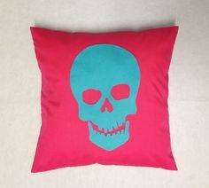 Skull  Cerise Pink Turquoise Gothic Punk Halloween Cushion Cover Retro Design