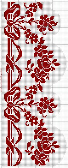 Crochet Curtain Pattern, Crochet Rug Patterns, Crochet Lace Edging, Crochet Curtains, Tatting Patterns, Dmc Cross Stitch, Cross Stitch Borders, Cross Stitch Flowers, Cross Stitch Designs
