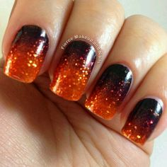 Halloween is right around the corner so you need to make sure you have your nails done to perfection to celebrate a fun holiday. We have found some of the best Halloween nail art designs for 2018 and would love to share them with you. Fancy Nails, Love Nails, Diy Nails, How To Do Nails, Pretty Nails, Glittery Nails, Glitter Eye, Nail Art Orange, Orange Nails