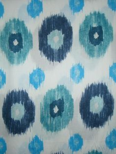 Navy and Turquoise on White Ikat Print Pure Cotton Sateen Fabric--One Yard $13.75