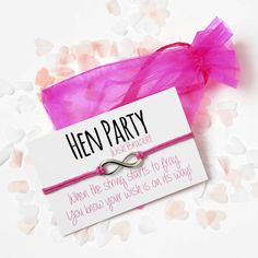 Hen Party Wish Bracelet - Hen Party Favours - Hen Night Gifts - Hen Do Favours - Wish Bracelet Hen Party Favours, Hen Party Bags, Hen Party Gifts, Party Gift Bags, Shower Favors, Stag And Hen, Be Design, Hen Party Accessories, Pink Envelopes