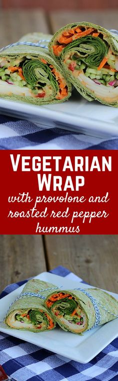 Wrap with Provolone and Roasted Red Pepper Hummus Vegetarian Wrap with Provolone and Roasted Red Pepper Hummus - get the easy lunch recipe on !Vegetarian Wrap with Provolone and Roasted Red Pepper Hummus - get the easy lunch recipe on ! Wrap Recipes, Veg Recipes, Lunch Recipes, Vegetarian Recipes, Cooking Recipes, Healthy Recipes, Vegetarian Cooking, Venison Recipes, Smoothie Recipes