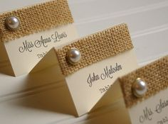 burlap rehearsal name cards | Burlap and Pearl Place Cards - Handmade Rustic…