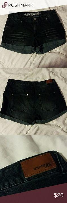 Express Jean Shorts NWOT Cute basic jean shorts drom express in a dark wash. Never worn. Express Shorts Jean Shorts