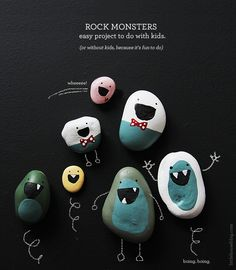 FridayI decided to makeRock Monsters with Oscar. The project filled the better part of the day and became slightly addictive. Oscar's rocks can be seen here – They weren't available for the photograph above above as Oscar had since hidden the rocks throughout our house. (I found one in my closet this morning)I took Oscar to Lowes and we picked up some paint sample pots ($5.00) in colours we wanted*.You can use more child friendly paint – but I wanted the coverage that the wall paint would…