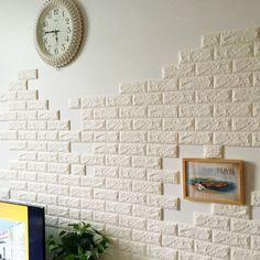 Brick Pattern Wallpaper Bedroom Living Room Modern Wall Background TV Decor Image 3 of 5 Diy Wall Decor, Diy Wallpaper, Wall Stickers Wallpaper, Brick Wall Wallpaper, Wall Stickers Home Decor, Foam Panels, Brick Living Room, Diy Projects To Improve Your Home, Patterned Wallpaper Bedroom