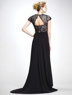 Simplicity meets elegance in Colors Dress The intricately embellished bodice features a deep V neckline and cap sleeves. Fitted to the empire waist, the full length skirt flows out to a sweep train. Full Length Skirts, Cap Sleeves, Bodice, Elegant, Formal Dresses, Black, Colors, Fashion, Classy