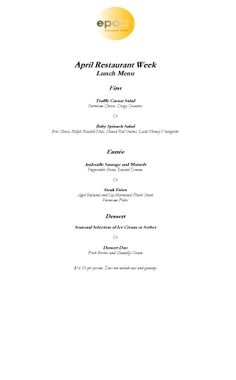 Our Portsmouth Nh Restaurant Week Menu  Epoch Restaurant Menus