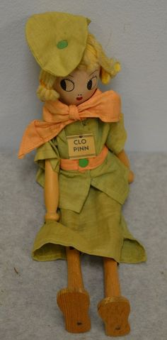 "Vintage (1935) Original Schoenhut Pinn Family Doll ""Clo"" with Tag"